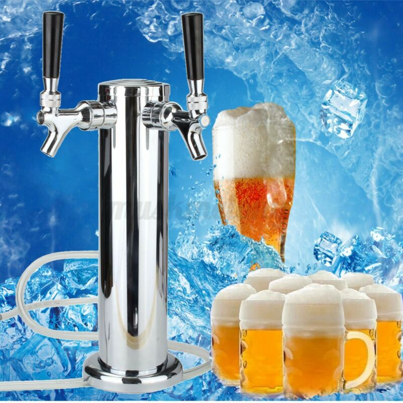 Double Stainless Steel Draft Beer Tower Kegerator Dual Chrome 2 Tap Faucets USA