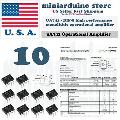 10pcs Ua741cn Ua741 Lm741 Ic St Dip-8 Operational Amplifier