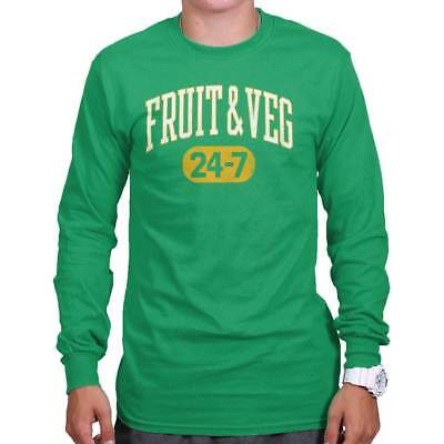 Fruits Veg Vegan Funny Gift Gym Workout Veggie Cool Cute Edgy Long Sleeve Tee