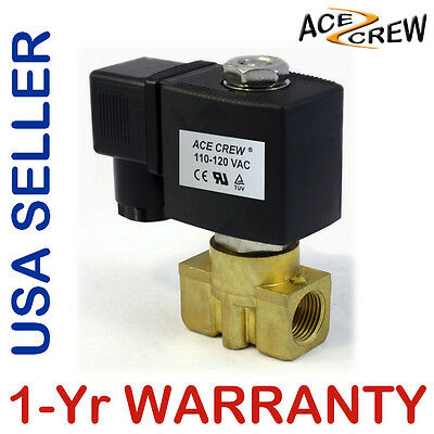 38 Inch 110v-120v Ac Brass Electric Solenoid Valve Npt Gas Water Air Nc