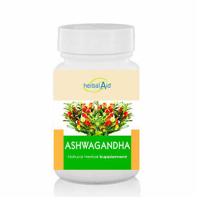 Ashwagandha Capsules Pure Herb 500mg 60 Vegan - Stress Anxiety Fatigue Relief