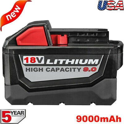 9.0AH For Milwaukee M18 18V Lithium HD 9.0 Extended Capacity Battery 48-11-1890