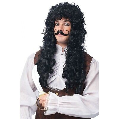 Captain Hook Wig & Mustache Moustache Adult Men Pirate Costume Long Curly Black (Captain Hook Adult)