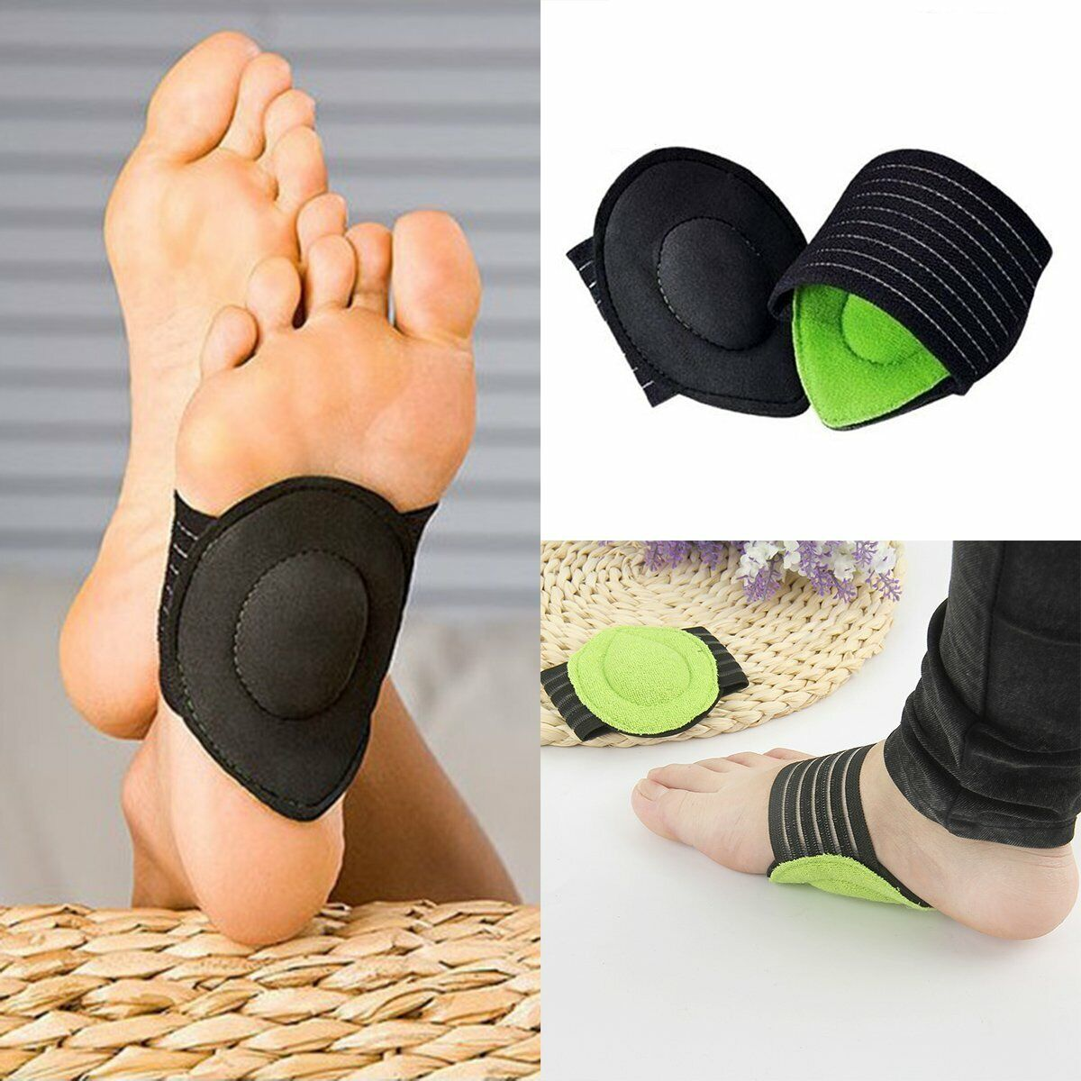 Heel Foot Pain Relief Plantar Fasciitis Insole Pads Arch Sup