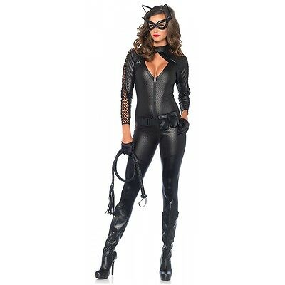 Cat Woman Costume Adult Superhero Catsuit Halloween Fancy Dress (Halloween Costumes Super Heros)