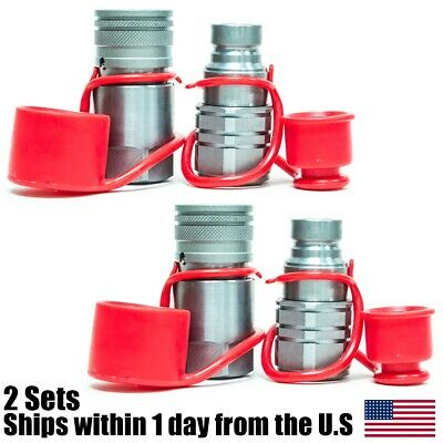 2 Sets Hydraulic Quick Connect Couplers 34 Npt Flat Face For Skid Steer Bobcat