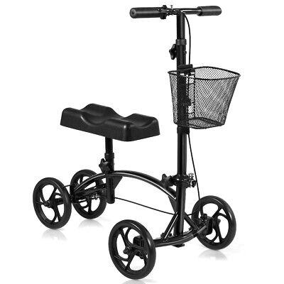 Foldable Steerable Knee Walker Medical Knee Scooter W/Dual B