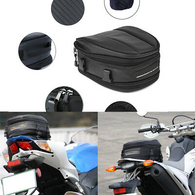 Universal Motorcycle Rear Tail Seat Bag Waterproof Oxford Black Back Saddle Pack