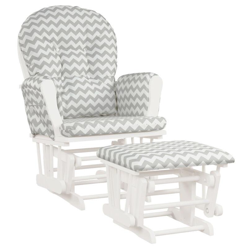 Baby Nursery Relax Rocker Rocking Chair Glider & Ottoman Set w/ Padded Cushion