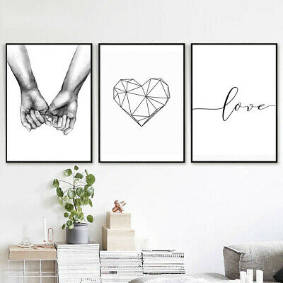 Abstract Geometry Line Heart Love Prints Canvas Art Poster Nordic Home Decor