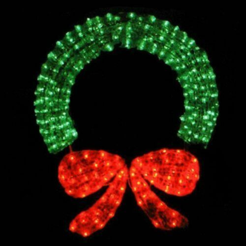 Green/Red Crystal Mesh 3-D Outdoor Christmas Wreath Lighted Display 400 Lights