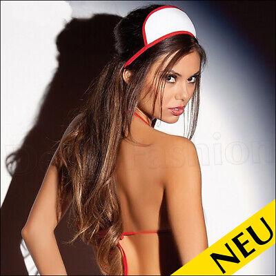 NEU 🌸 B-WARE 3tlg NURSE Kostüm G-STRING Häubchen KRANKENSCHWESTER Cosplay 🌸 S (Nichts Krankenschwester Kostüme)