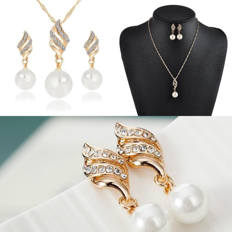 Women Wedding Jewelry Set Crystal Pearl Gold Plated Pendant
