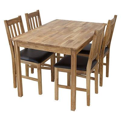Tischgruppe LUCCA Tisch 120 x 80cm + 4 Stühle Eiche massiv Esstisch Gastro