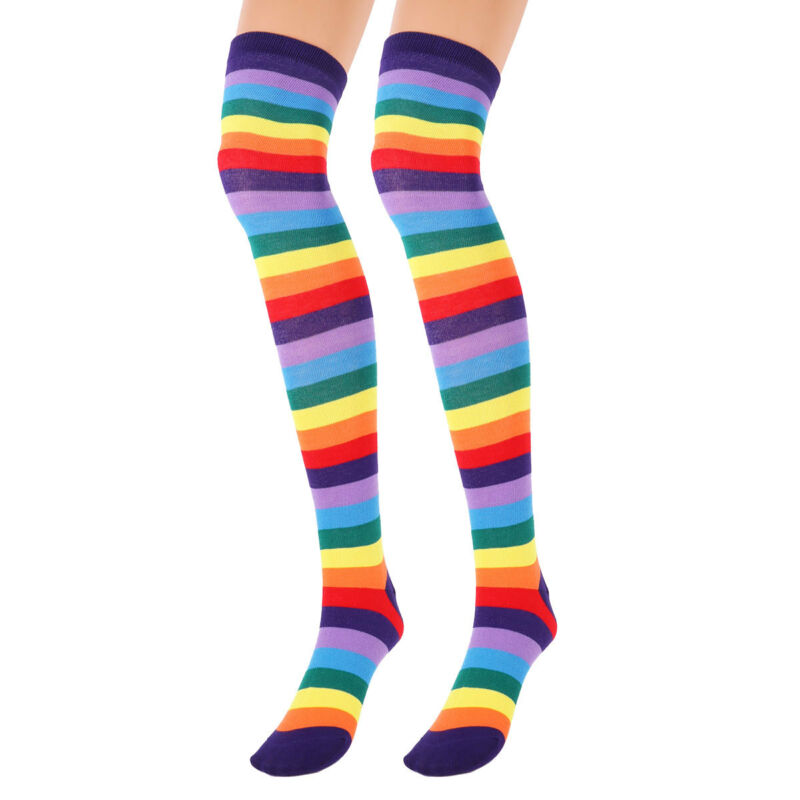 Men's Gloves Responsible Womens Unisex Winter Knitted Fingerless Gloves Socks Set Rainbow Stripes Printed Colorful Thigh High Stockings Elbow Warmer Mitt
