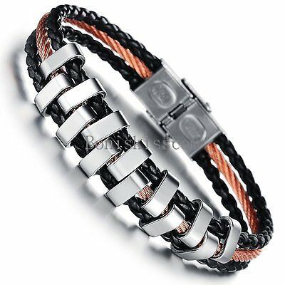 Gold Tone Stainless Steel Rope Braided Black Leather Wristband Men's Bracelet
