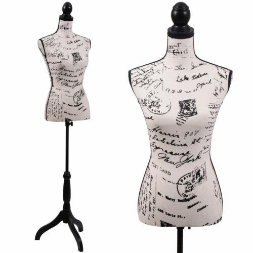 Female Mannequin Torso Designer Pattern Dress Form Display / Black Tripod Stand