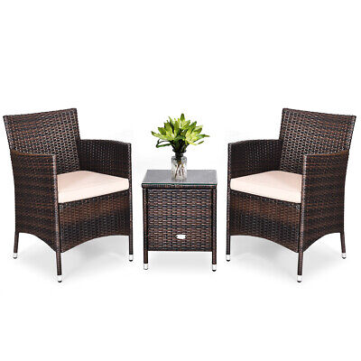 Garden Furniture - Outdoor 3 PCS Rattan Wicker Furniture Set w/2 Chairs Coffee Table Garden Beige