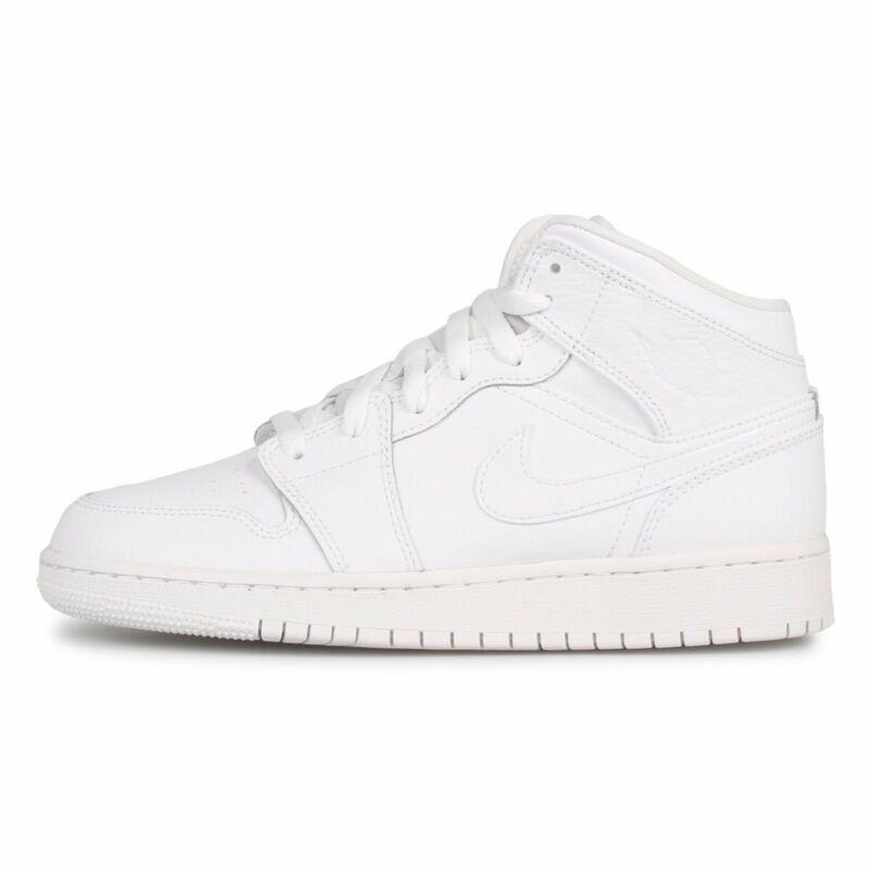 Jordan 1 Mid White/White (GS)