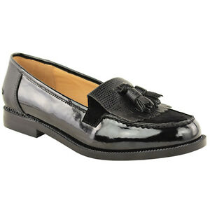 WOMENS LADIES LOAFERS FLAT CASUAL OFFICE WORK SCHOOL FRINGE TASSEL PUMPS SHOES