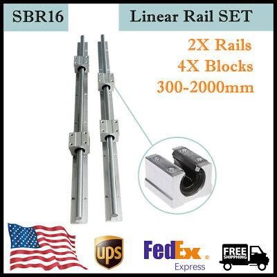 Sbr16 Linear Slide Rail 300-2000mm Fully Supported Shaft 4x Sbr16uu Blocks Set