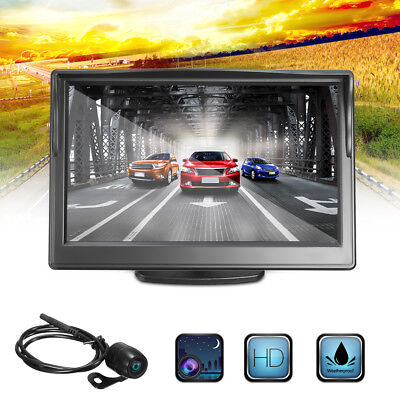 5 LCD Car Rear View  Monitor  Wired Reverse Waterproof Wide Angle Camera Kit
