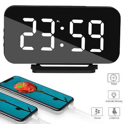 Spiegel LED Wecker Digital Tischuhr Alarm Spiegel Nachtlicht Wanduhr Dual USB DE (Digitale Tischuhr)