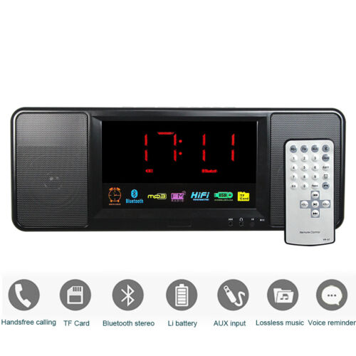 digital bluetooth speaker alarm clock fm radio music player remote control usb ebay. Black Bedroom Furniture Sets. Home Design Ideas