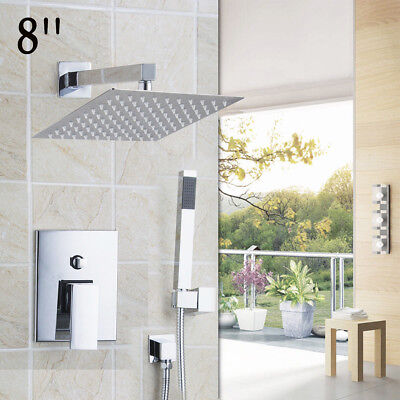"""Chrome Bathroom Shower Faucet Set 8"""" Rain Shower Head+Handsprayer Square Value"""