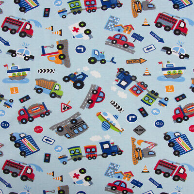 Baumwolljersey Jersey Fahrzeuge Auto Polizei Bagger Bus Zug hellblau bunt - Bagger Kostüm