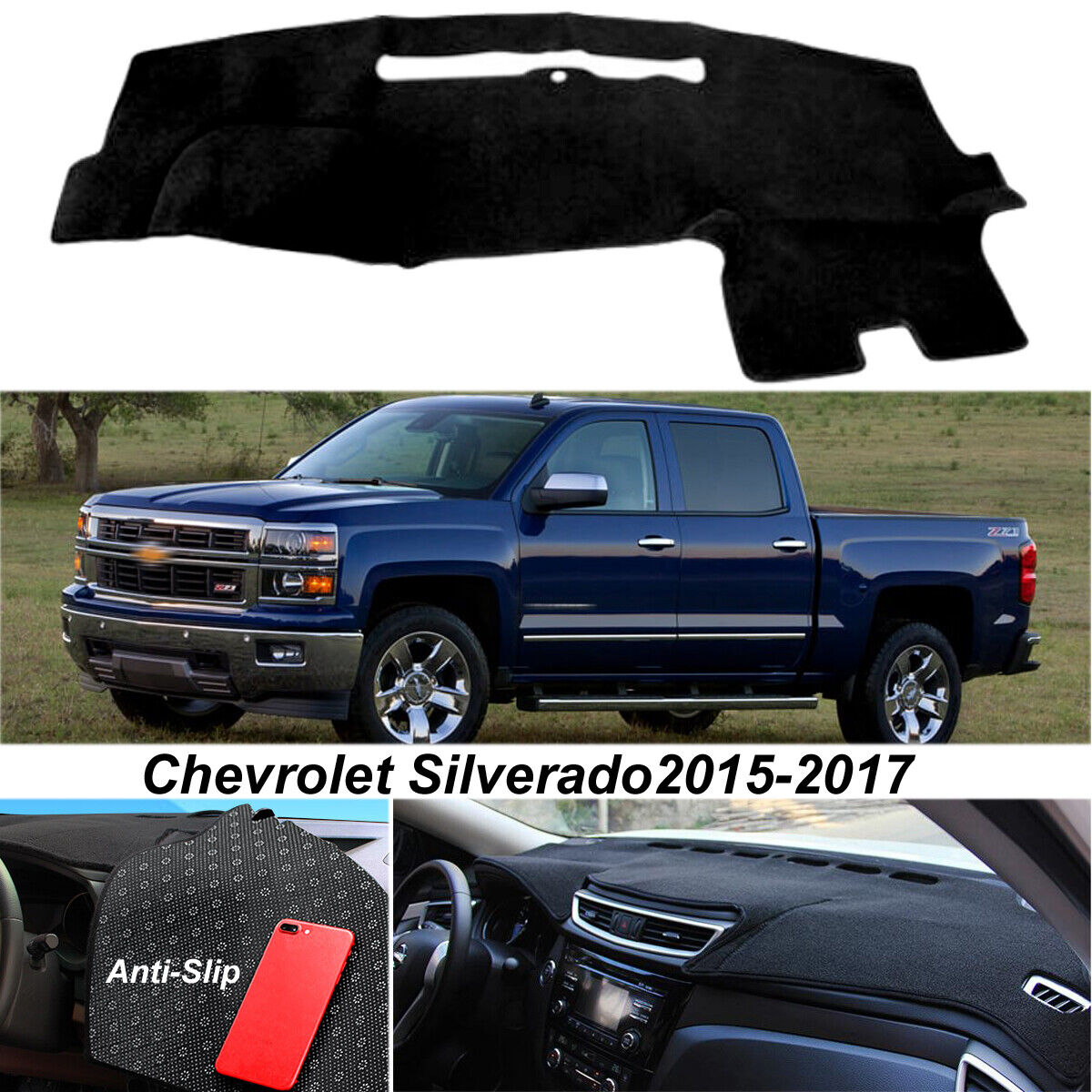 Details About Dash Mat Cover For 2017 Chevrolet Silverado Dashboard Non Slip Pad Black