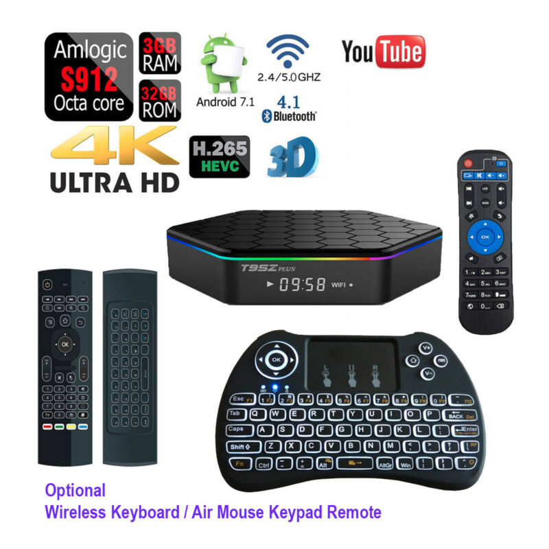 T95Z Plus 32GB Octa Core Wifi Bluetooth 4K Android Smart TV Box+Air Mouse Remote
