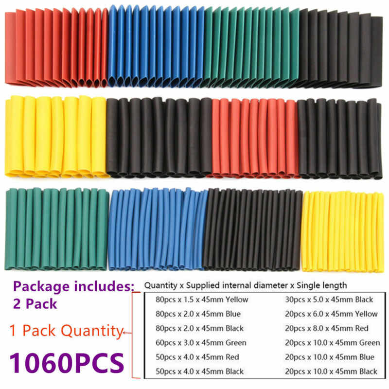 1060 Pcs 2:1 Heat Shrink Tubing Tube Sleeving Wrap Cable Wire 5 Color 8 Size
