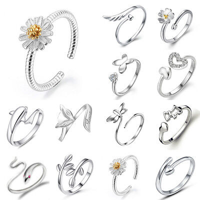 Fashion Women 925 Silver Plated Crystal Jewelry Heart Adjustable Ring Gift ()