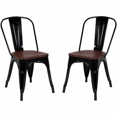 (Set of 2 Tolix Style Dining Side Chair Stackable Bistro Metal Wood Stool Black)