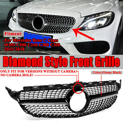 Diamond Style Front Grille Grill For Mercedes W205 C Class C250 C300 AMG 2015-18