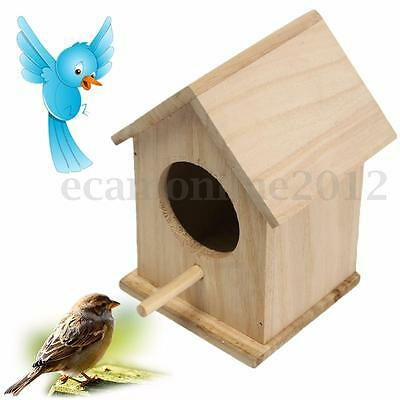 Wooden Bird House Feeder Wild Birds Nest Home Garden Nesting With Wood Stick