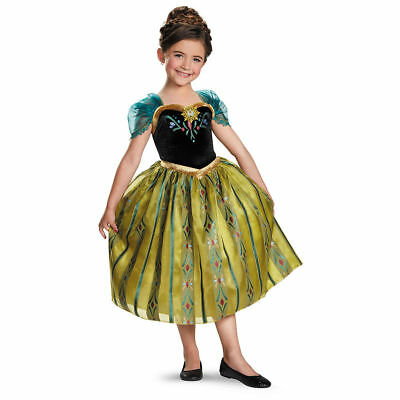 Authentic Disney Frozen Movie Princess Anna Deluxe Halloween Costume Dress NEW ](Disney Anna Costume)