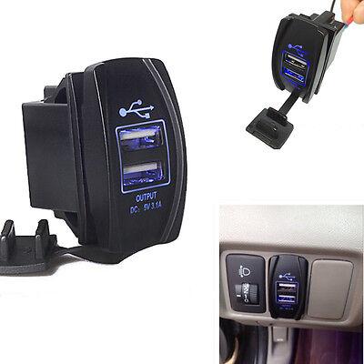 Dual USB Power Charger Carling ARB Rocker Switch Blue LED Light Car Boat 12V 24V