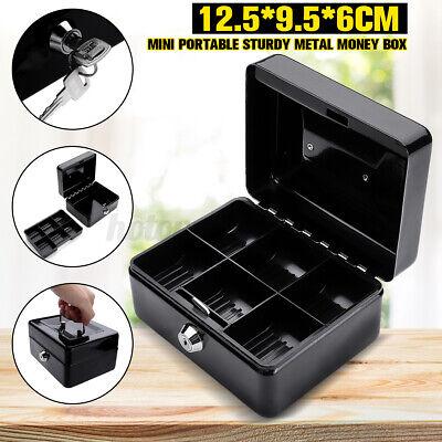 Cash Box With Money Tray Lock Key Money Saving Storage Box Metal Safe Cas