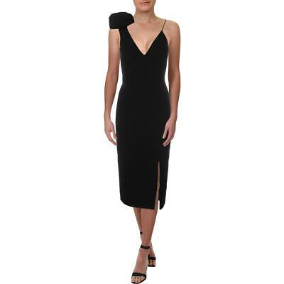Rebecca Vallance Womens Black Bow V-Neck Midi Sheath Dress 2 BHFO 4413
