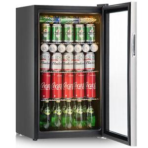 120 Can Beverage Refrigerator Beer Wine Soda Drink Cooler Mini Fridge Glass Door