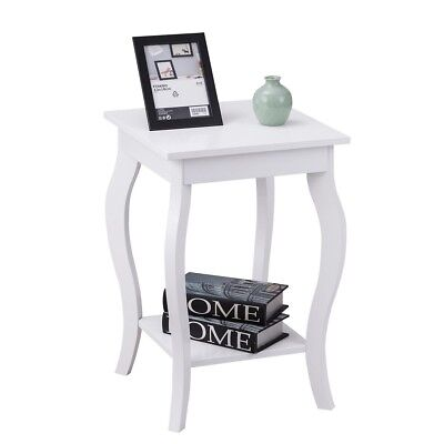 Accent Side End Coffee Tea Table w/ Storage Shelf Living Room Furniture White US