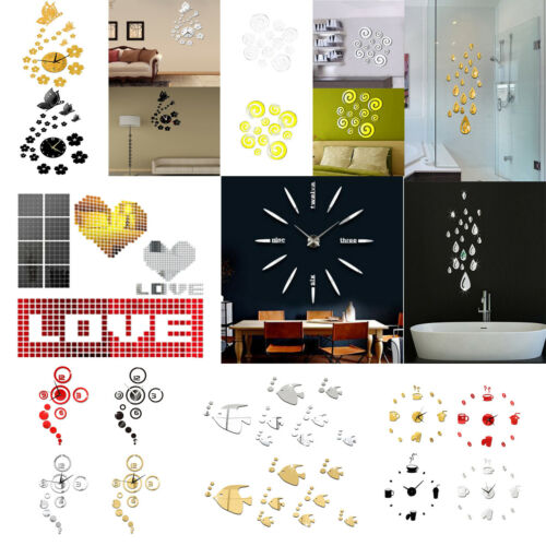 Acryl Clock Design Spiegeleffekt Wanduhr Wandaufkleber Raum Dekor Rot+Sibern