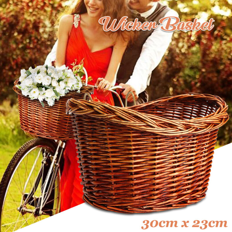 10.9'' Vintage Wicker Bike Basket Brown Leather Front Dog Pet Carrier Shopping