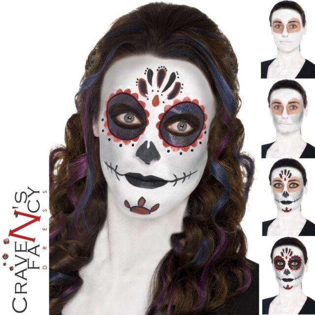 Day of the Dead Make Up Kit Set Halloween Scary Tattoo Sugar Skulls Fancy Dress