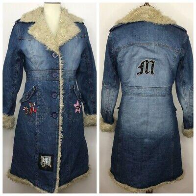 Steve Madden Womens Denim Long Jacket Coat Embellished  Faux Fur Patches Size M Embellished Faux Fur