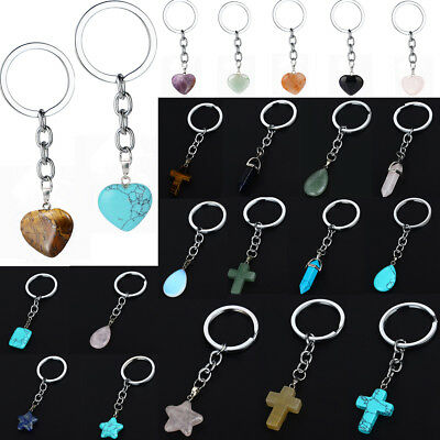 Cross Keychain (Delicate Natural Stone Keyring Love Heart Ball Star Cross Bullet Charms)