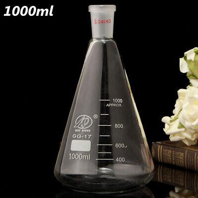 1000ml 1l 2440 Glass Erlenmeyer Flask Conical Bottle Lab Borosilicate Glassware