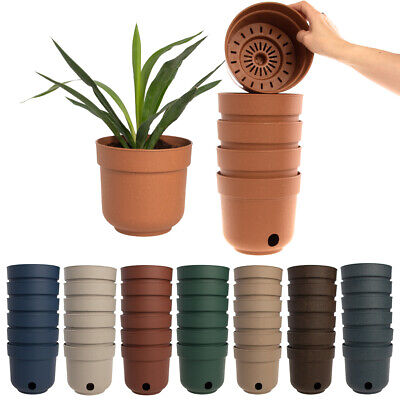 "6pk Self Watering 6.5"" Planters Indoor Outdoor Plastic Flower Pots Drainage (Indoor Flower Pots)"